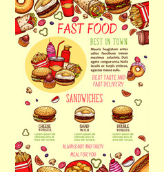 fast food burger and sandwich menu banner template vector image