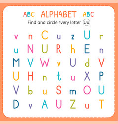 Find and circle every letter u worksheet vector