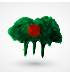 Flag of Bangladesh painted colors vector