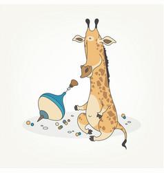 Funny giraffe and yule vector