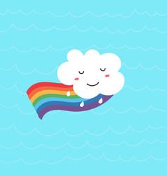 funny kawaii cloud on rainbow vector image