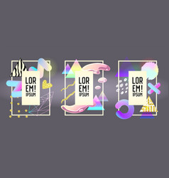 futuristic frames with abstract fluid elements vector image