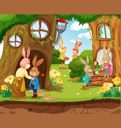 Garden scene with rabbit family cartoon character vector