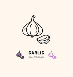 garlic icon vegetables logo spice thin line art vector image