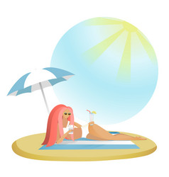 girl with mobile phones on beach vector image