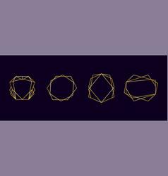 golden geometric polyhedron frames gold art deco vector image