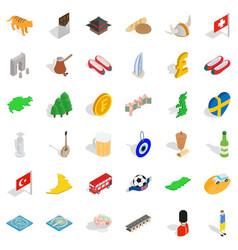 good world icons set isometric style vector image