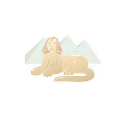 Great sphinx icon drawn on background the vector