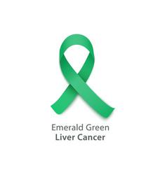 green ribbon liver cancer awareness symbol vector image