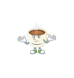 Grinning character cup coffee in cartoon mascot vector