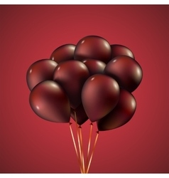 Group purple balloons depicted on a red background vector