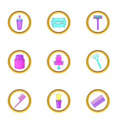 hairdresser shop icons set cartoon style vector image