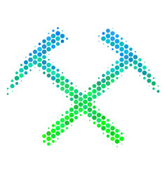 Halftone blue-green mining hammers icon vector