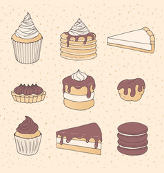 Hand drawn pastry set with cake and pie pieces vector