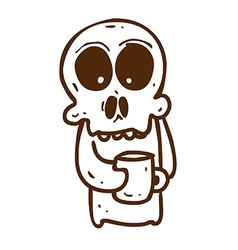 Hand Drawn Skeleton with Coffee vector image