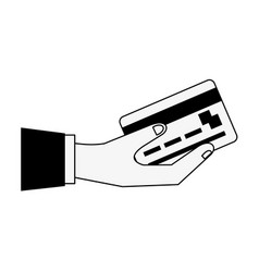 hand holding credit or debit card icon image vector image