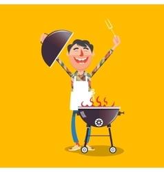 Happy man with barbecue cartoon vector image