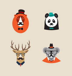 Hipster animals set of icons lion panda vector