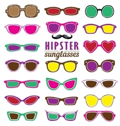 Hipsters colorful sunglasses set vector