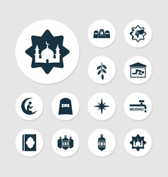 Holiday icons set with mosque abdest mosque vector