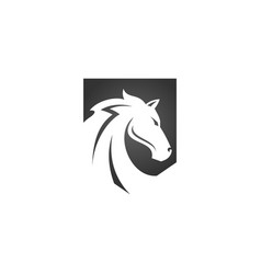 Horse head in black shield logo design isolated vector