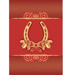 Horseshoe on red christmas background with holly vector