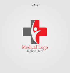 human in the cross logo for medical and vector image