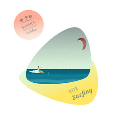 man rides wakeboard vector image