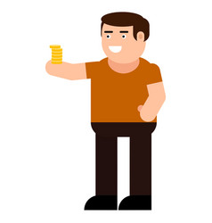 man with coins icon vector image