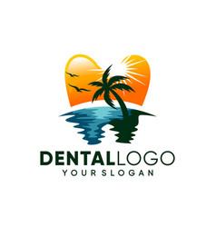 modern dental on beach logo design inspiration vector image