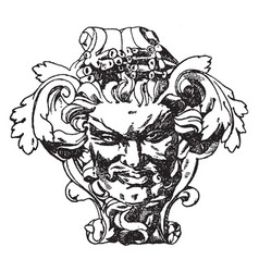 modern french grotesque mask vintage engraving vector image