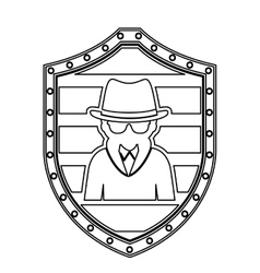 Monochrome silhouette of wooden shield with hacker vector