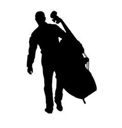 Musician holding big cello vector