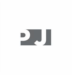 Pj logo monogram with negative space style design vector
