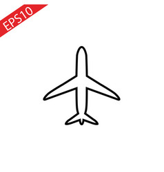 plane line icon on white background vector image