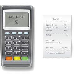 Pos terminal and sales printed receipt vector