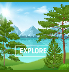 realistic pine forest sunny landscape vector image