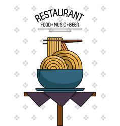 Restaurant food music and beer vector