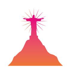 rio de janeiro christ statue landmark vector image