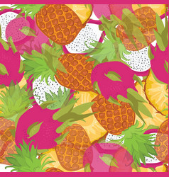 Seamless pattern of exotic fruits picture slice vector