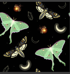 Seamless pattern with moon moth and stars vector