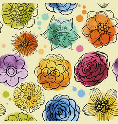 Seamless watercolor pattern with flowers vector