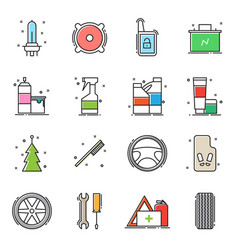 set of car accessories icons vector image