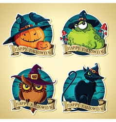 Set of Halloween vintage labels with pumpkins toad vector image