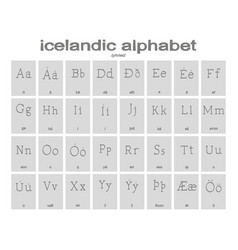 set of monochrome icons with icelandic alphabet vector image