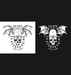 set skateboarding emblems vector image