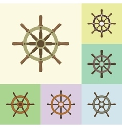 Ship Steering Helm Flat Icons Set vector