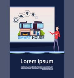Smart home technology presentation asian man vector