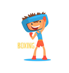 smiling boy boxer with boxing gloves and helmet vector image