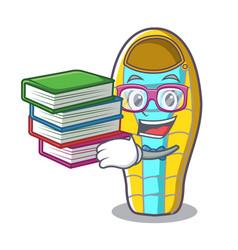 Student with book sleeping bad mascot cartoon vector